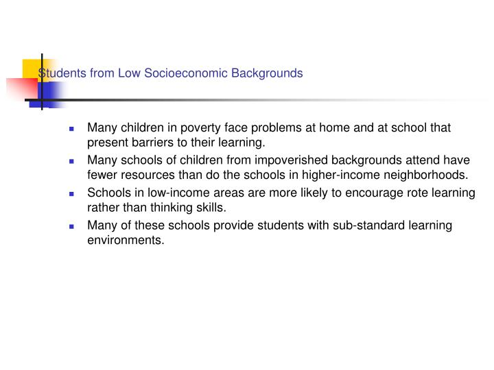 Students from Low Socioeconomic Backgrounds