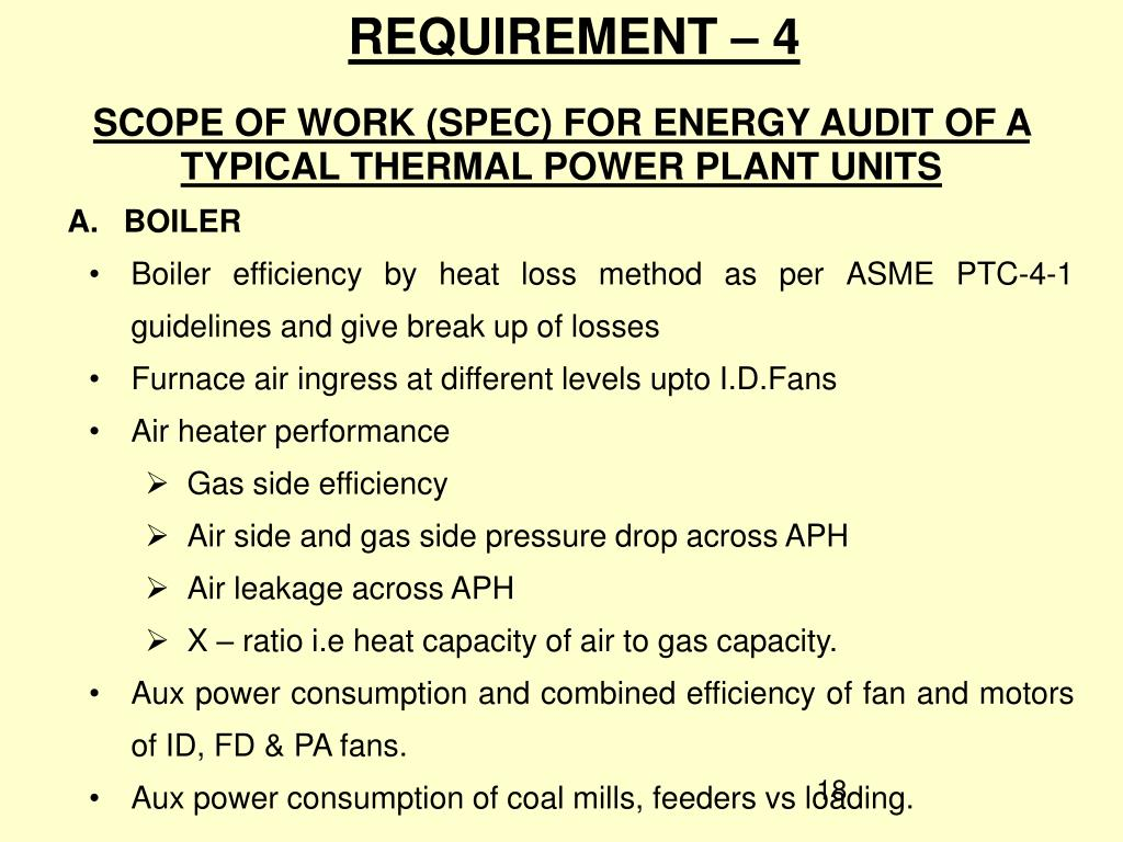 SCOPE OF WORK (SPEC) FOR ENERGY AUDIT OF A TYPICAL THERMAL POWER PLANT UNITS