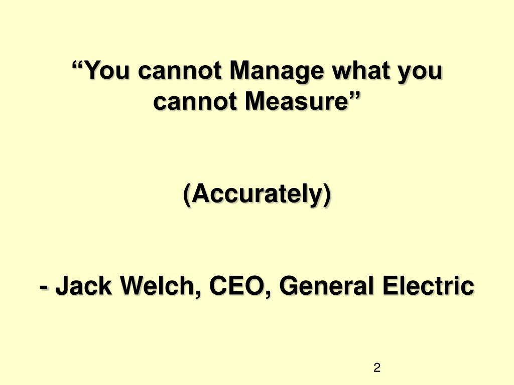 """You cannot Manage what you cannot Measure"""