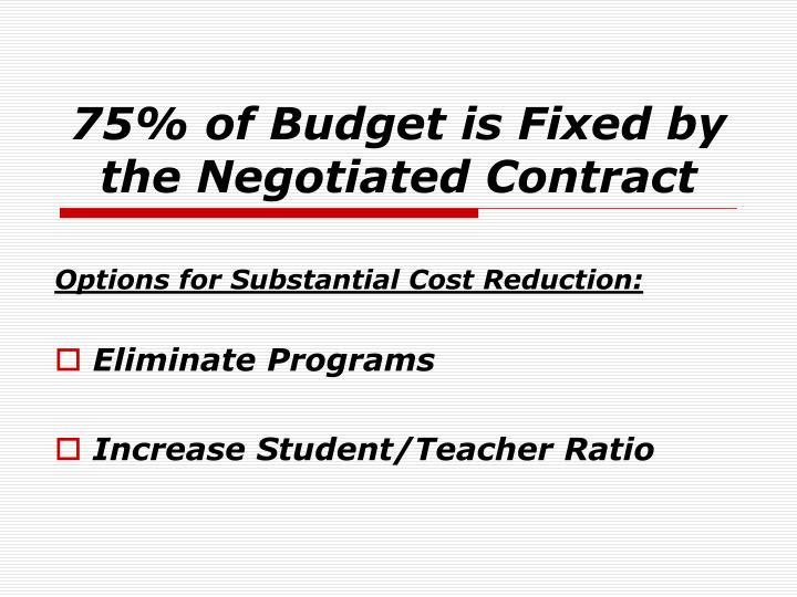 75% of Budget is Fixed by the Negotiated Contract