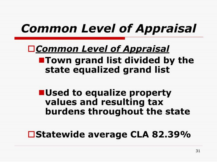 Common Level of Appraisal