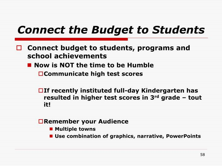 Connect the Budget to Students