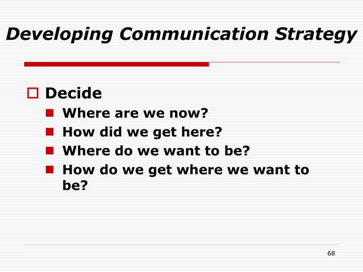 Developing Communication Strategy