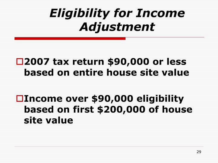 Eligibility for Income Adjustment