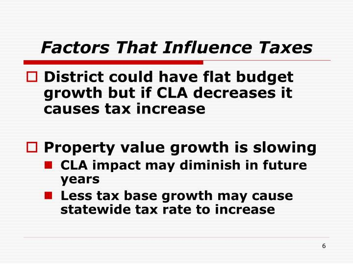 Factors That Influence Taxes