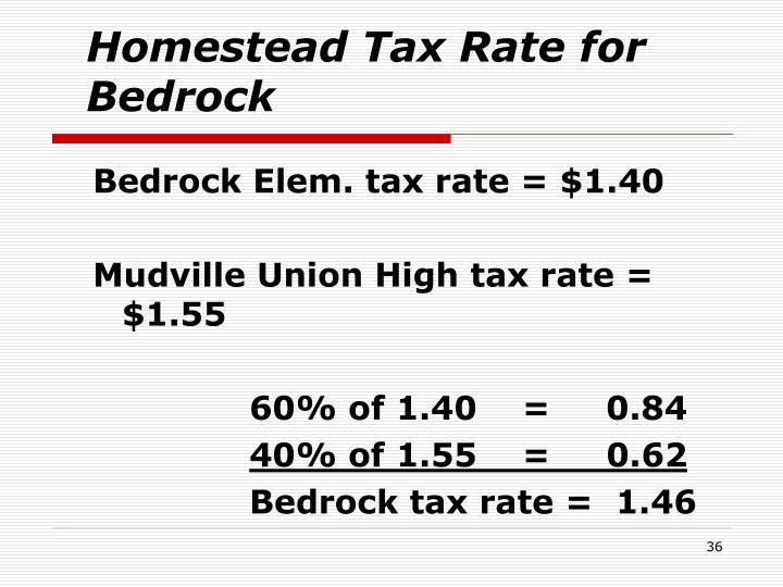 Homestead Tax Rate for Bedrock