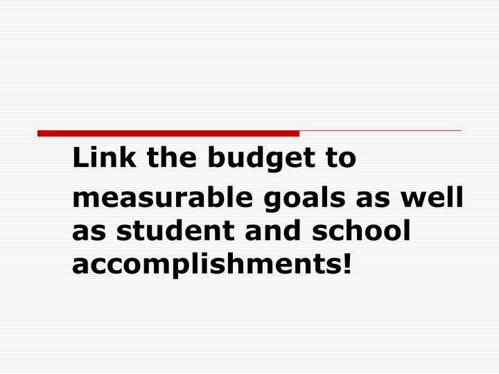 Link the budget to