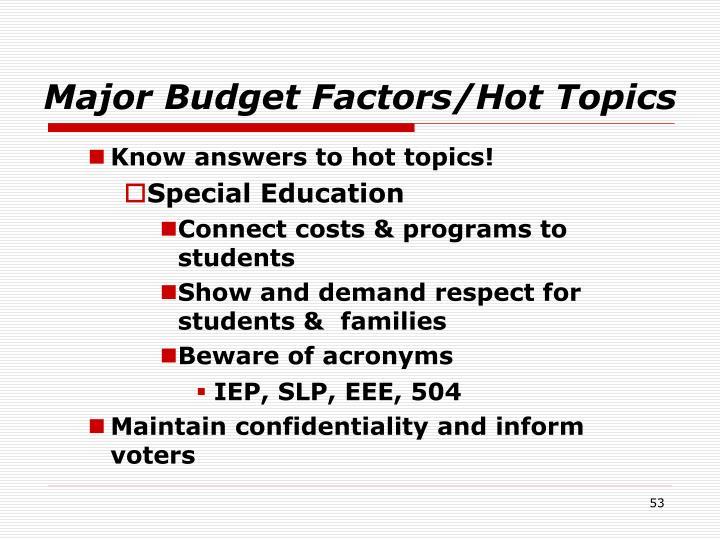 Major Budget Factors/Hot Topics