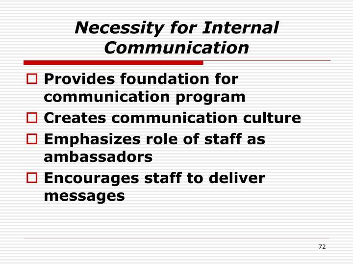 Necessity for Internal Communication