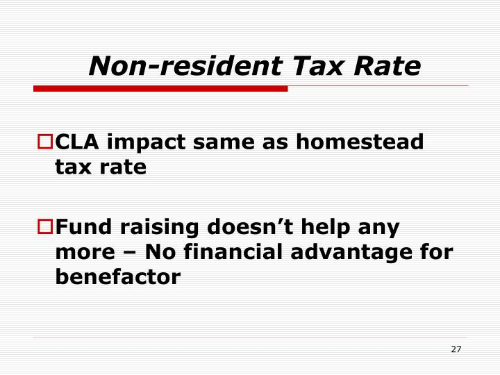 Non-resident Tax Rate