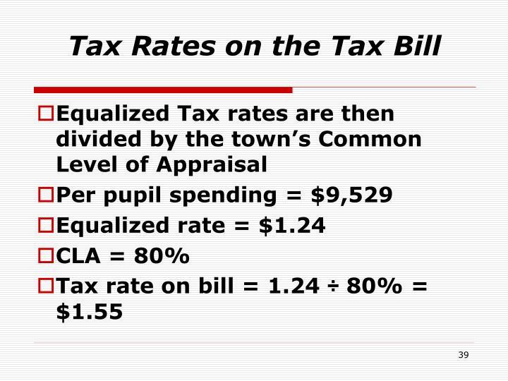 Tax Rates on the Tax Bill