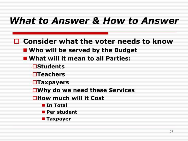 What to Answer & How to Answer