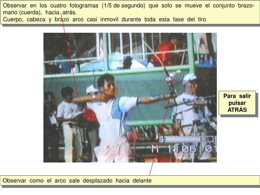 Observar  en  los  cuatro  fotogramas  (1/5 de segundo)  que  solo  se  mueve  el  conjunto  brazo-mano (cuerda),  hacia  atrás.