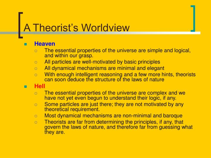 A theorist s worldview