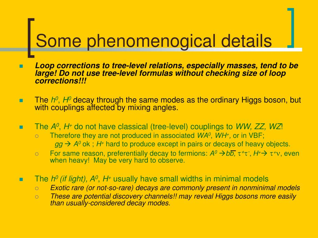 Some phenomenogical details