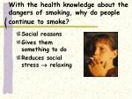 with the health knowledge about the dangers of smoking why do people continue to smoke