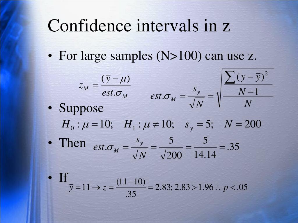 Confidence intervals in z