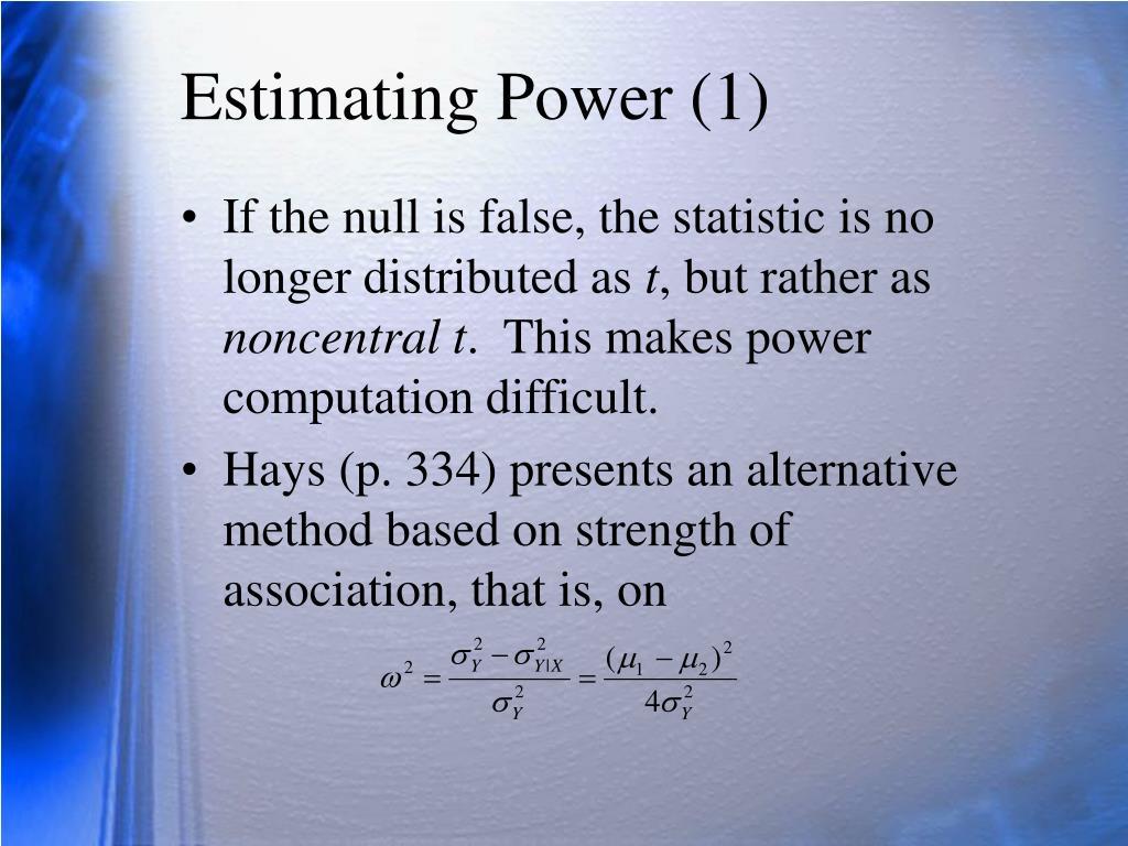 Estimating Power (1)