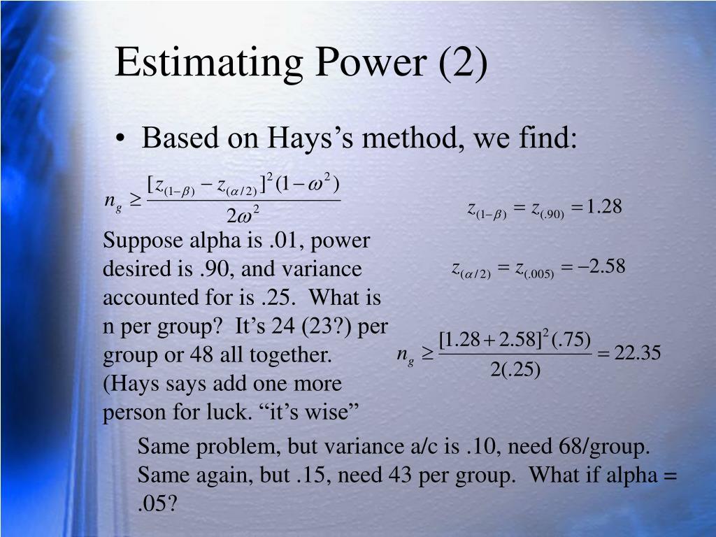 Estimating Power (2)