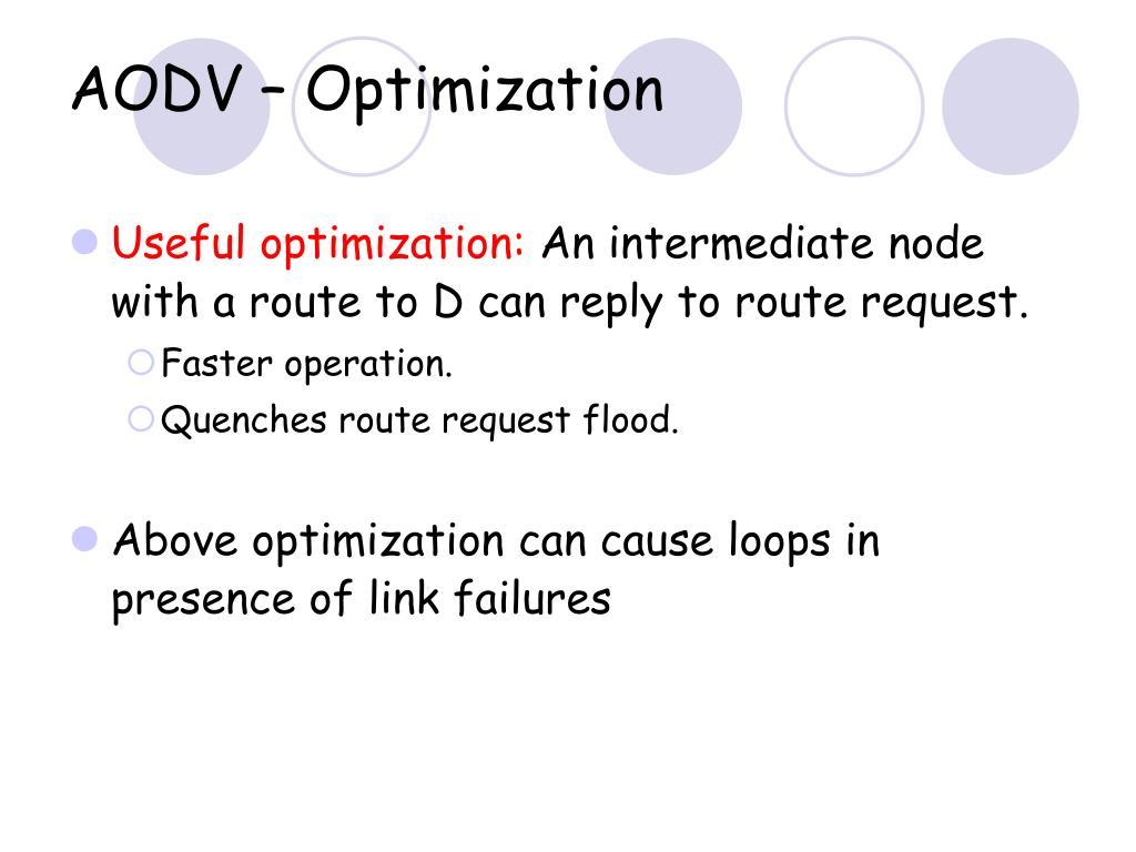 AODV – Optimization