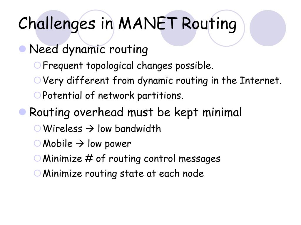 Challenges in MANET Routing