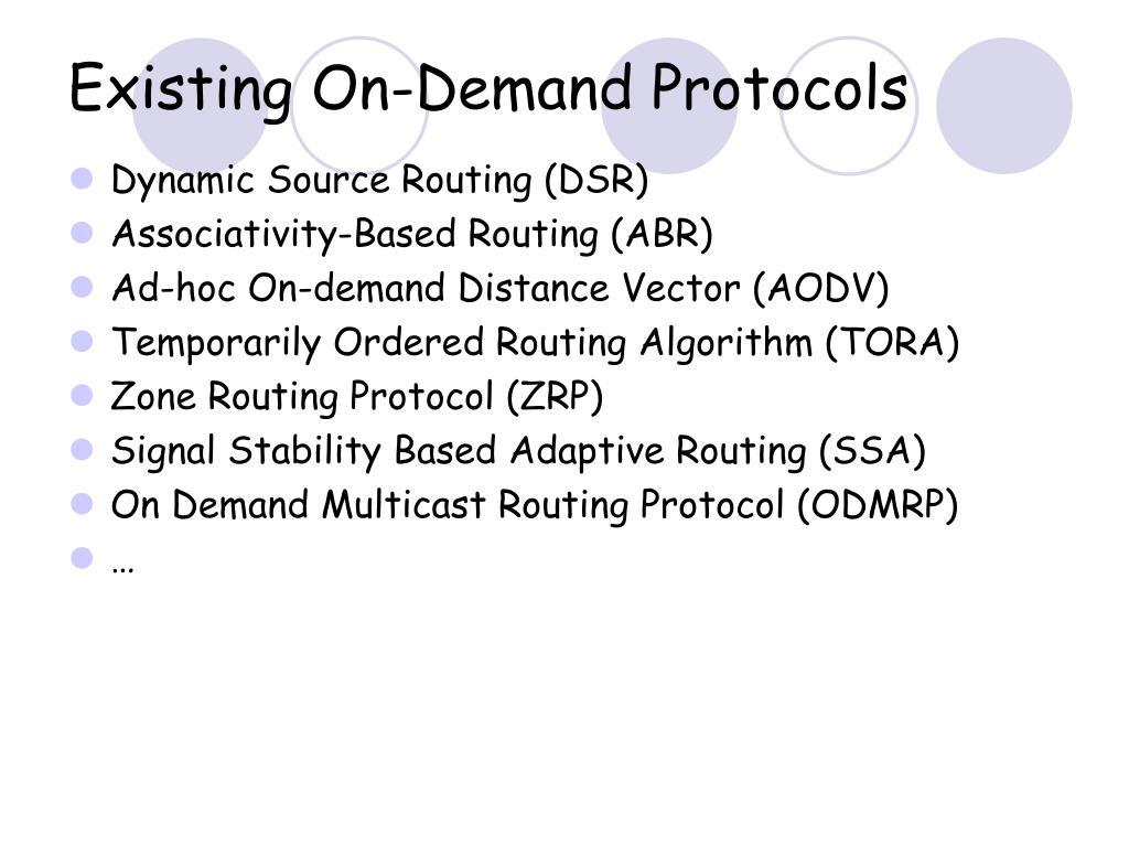 Existing On-Demand Protocols