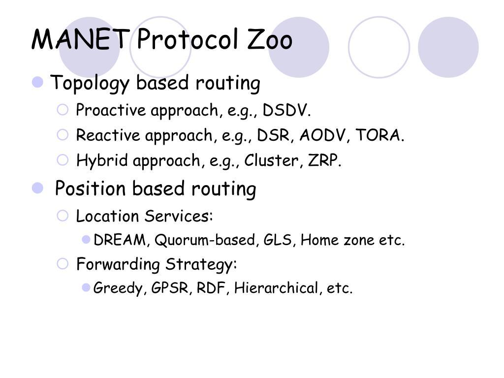 MANET Protocol Zoo