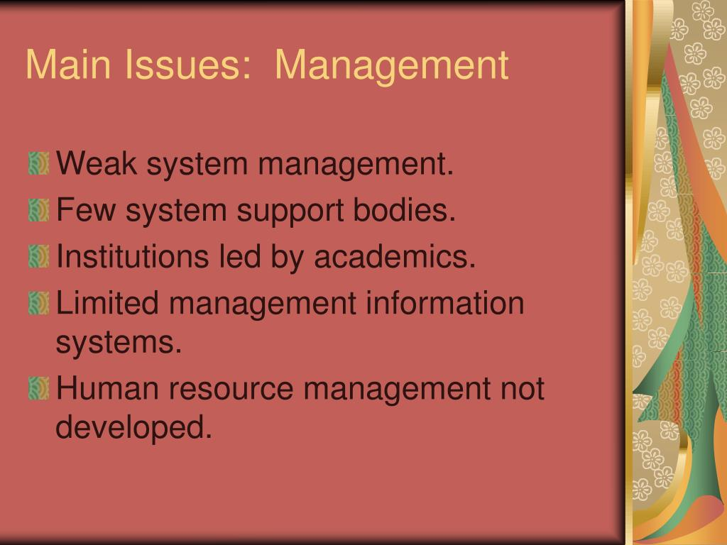 Main Issues:  Management