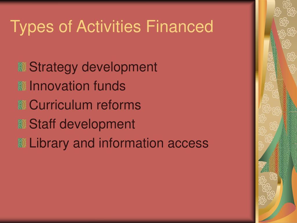 Types of Activities Financed