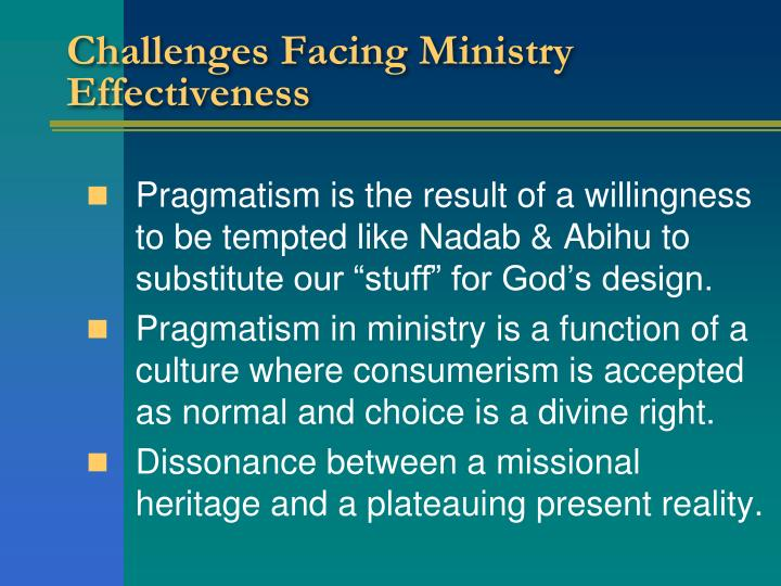 Challenges Facing Ministry Effectiveness