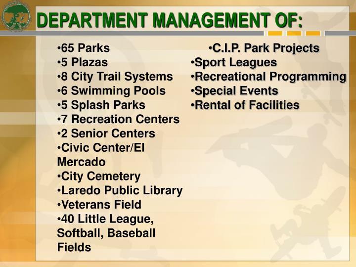 DEPARTMENT MANAGEMENT OF: