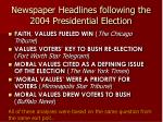 newspaper headlines following the 2004 presidential election