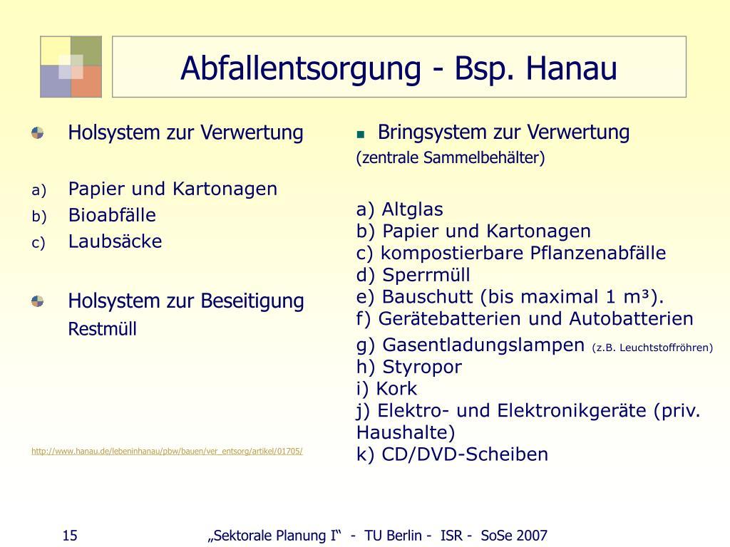 Abfallentsorgung - Bsp. Hanau