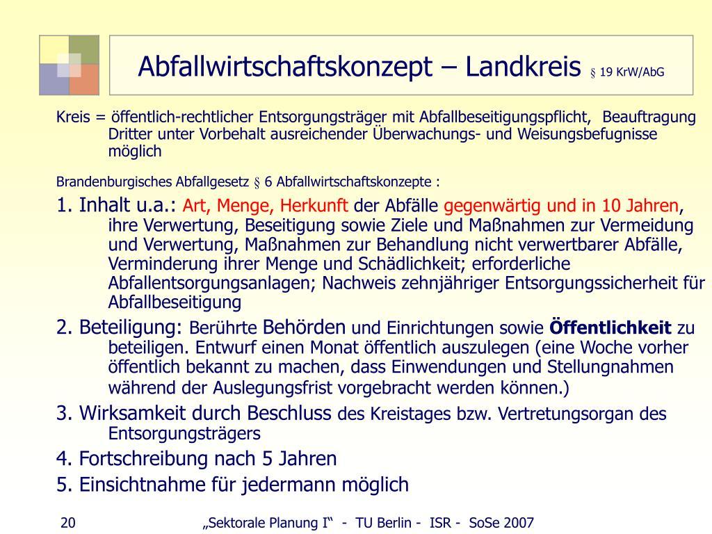 Abfallwirtschaftskonzept – Landkreis