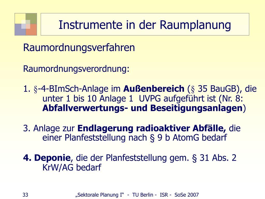Instrumente in der Raumplanung