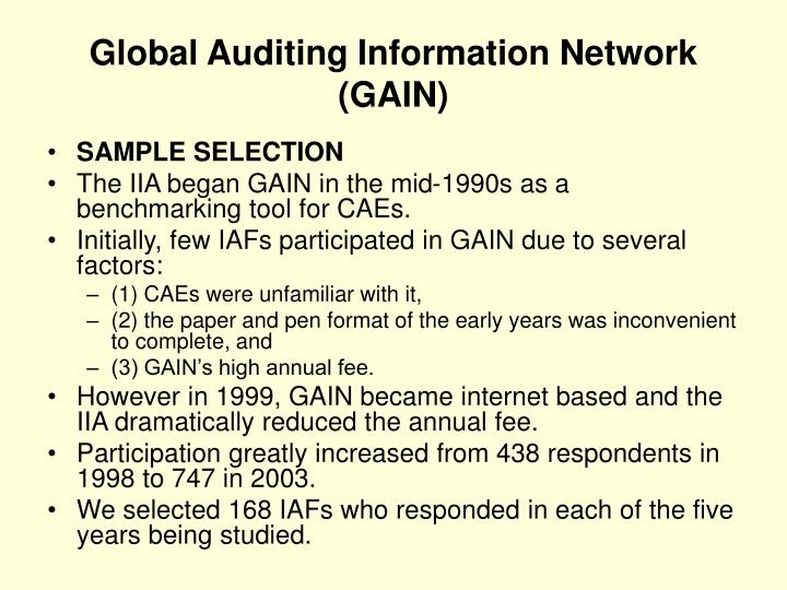 Global Auditing Information Network (GAIN)