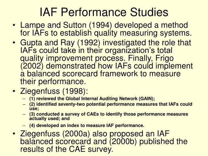 IAF Performance Studies