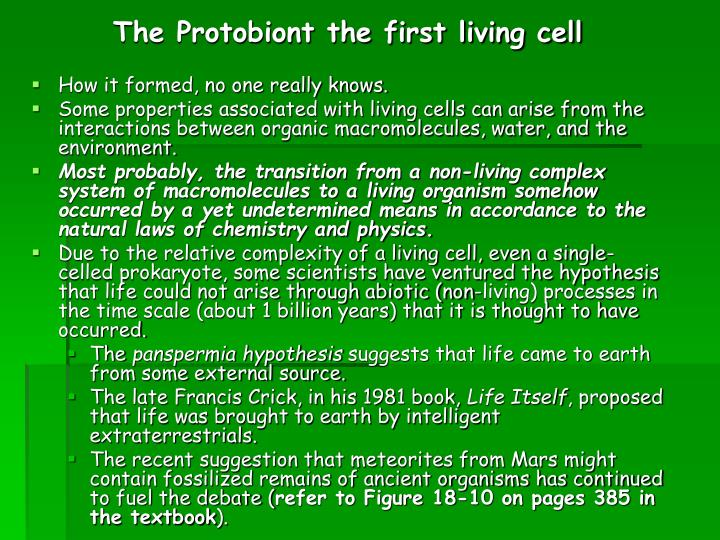 The Protobiont the first living cell