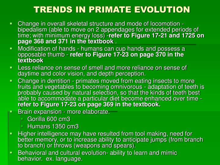 TRENDS IN PRIMATE EVOLUTION