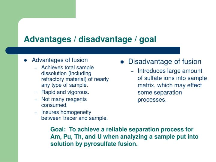 Advantages disadvantage goal