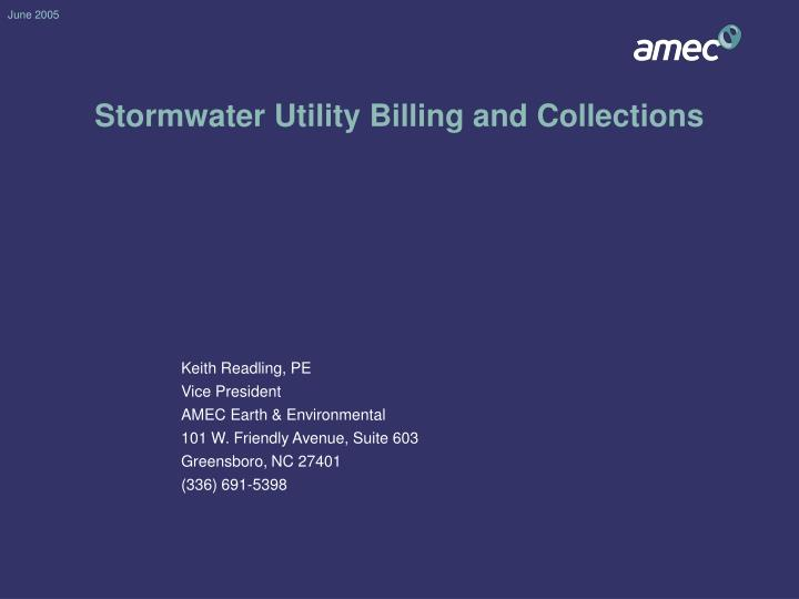 Stormwater utility billing and collections
