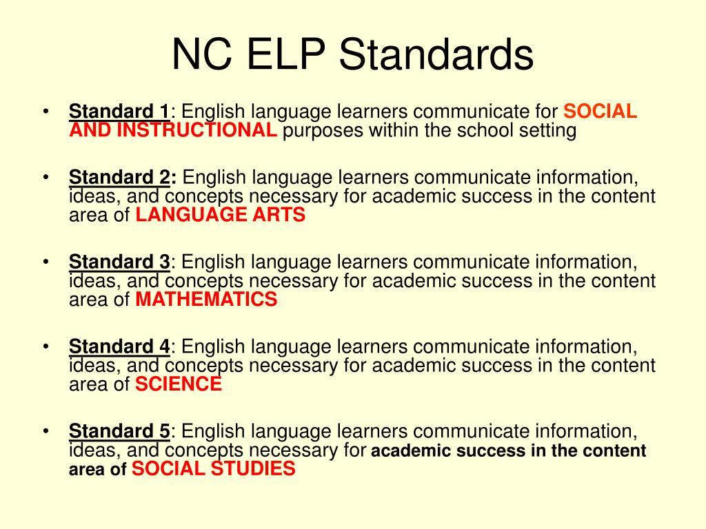NC ELP Standards