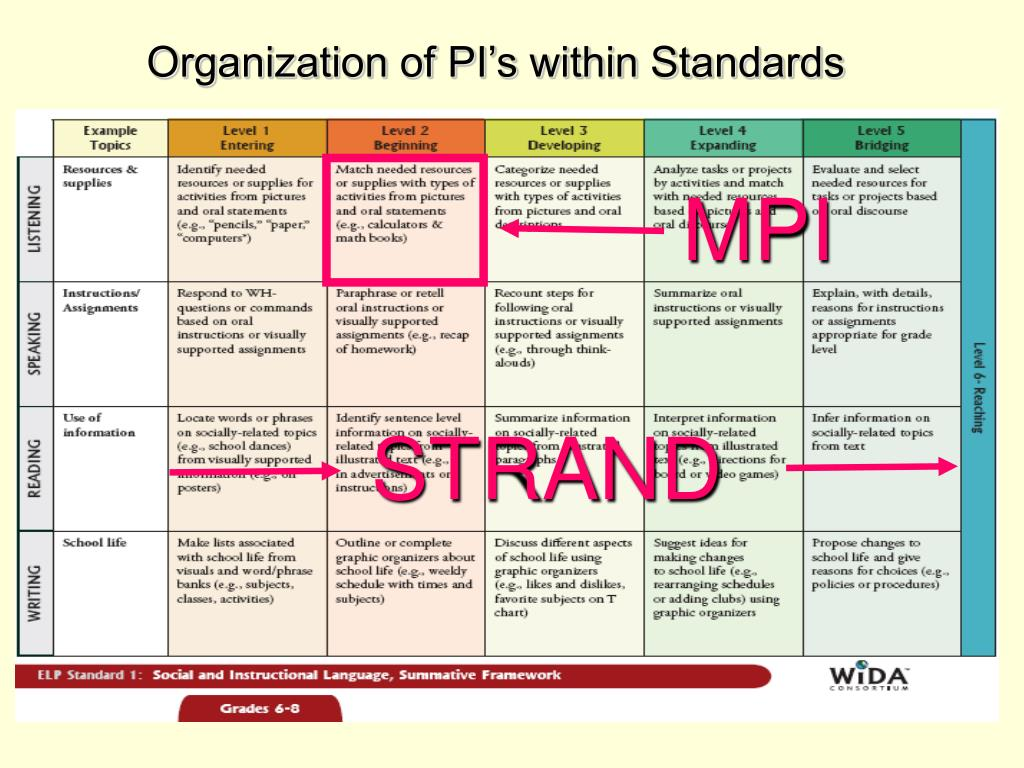 Organization of PI's within Standards