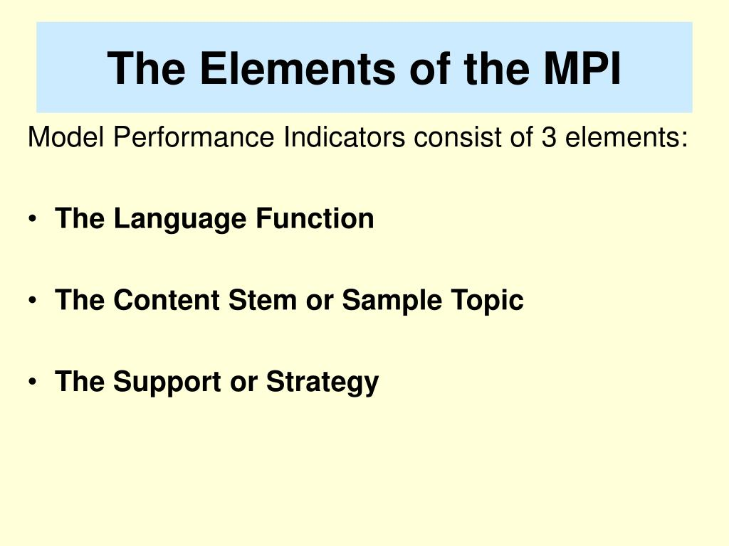 The Elements of the MPI