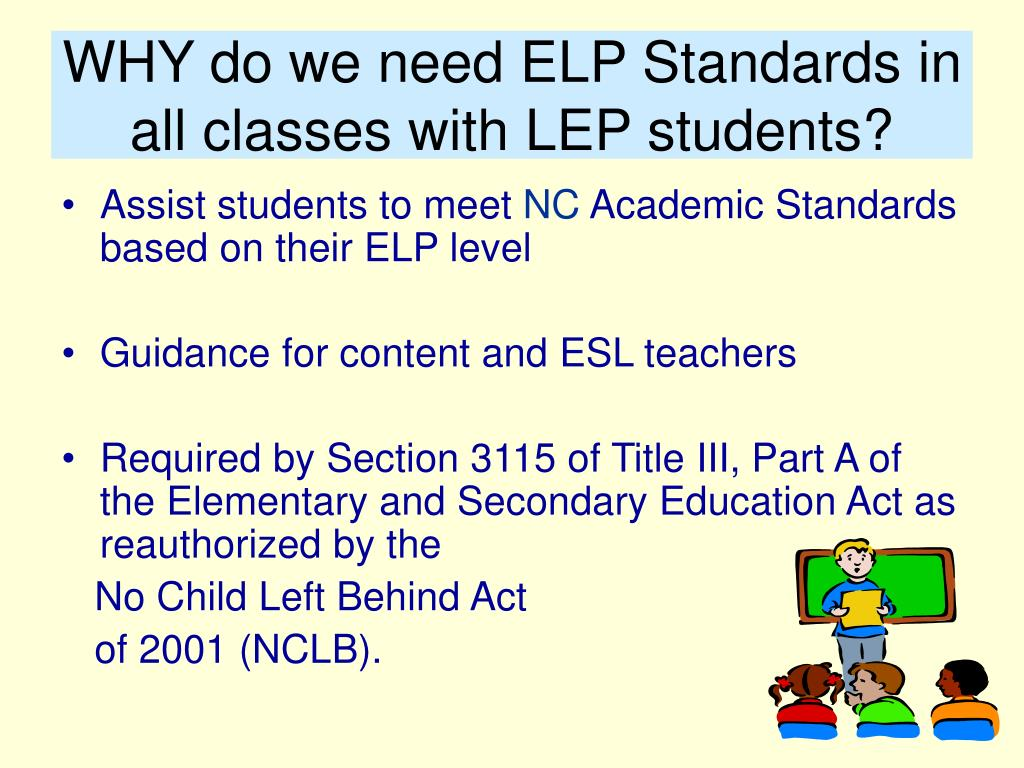 WHY do we need ELP Standards in all classes with LEP students?