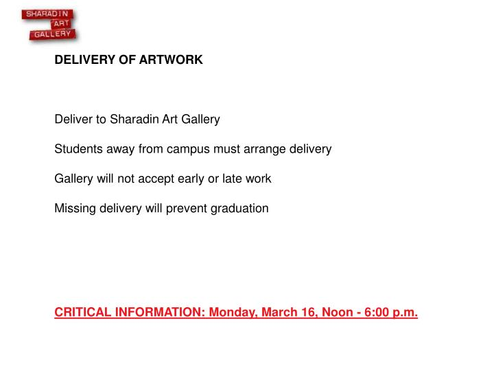 DELIVERY OF ARTWORK
