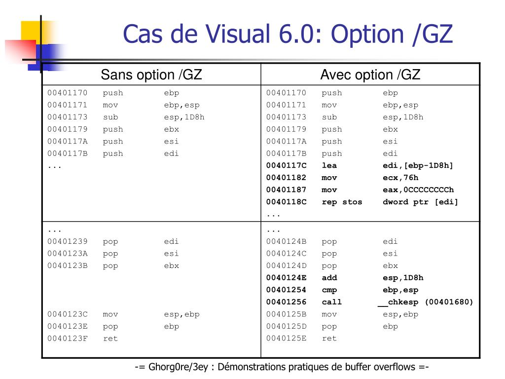 Cas de Visual 6.0: Option /GZ