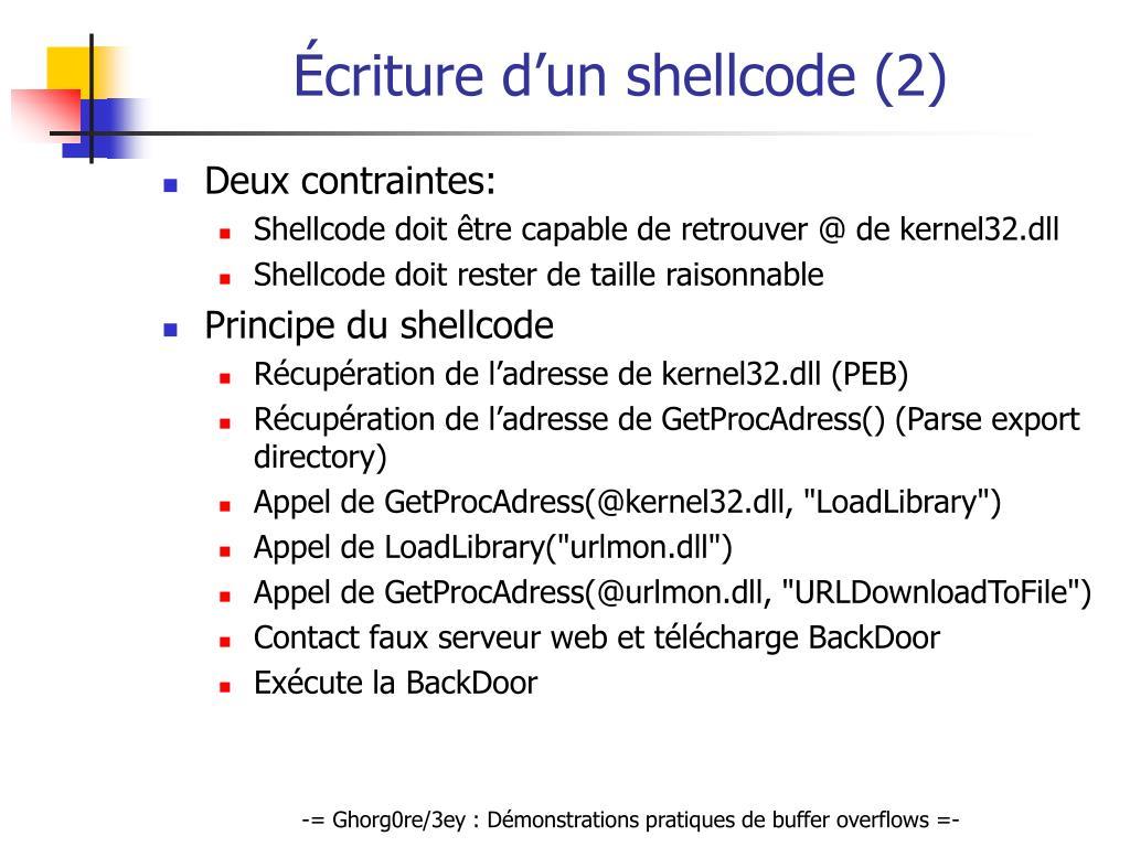Écriture d'un shellcode (2)