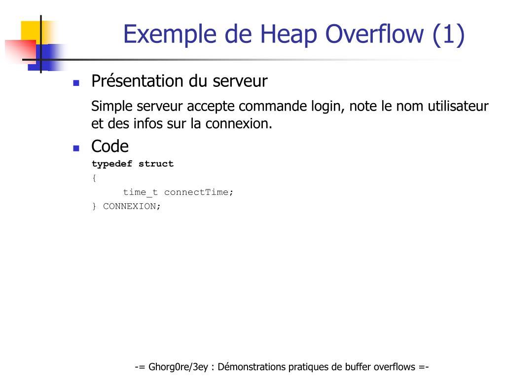 Exemple de Heap Overflow (1)