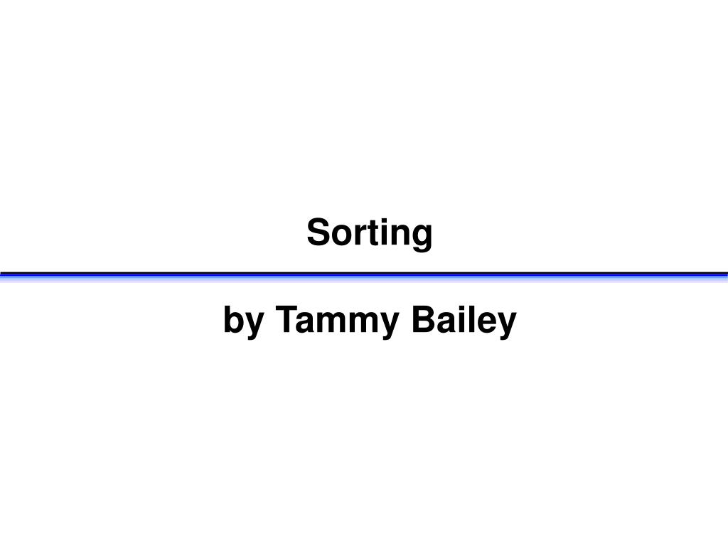 sorting by tammy bailey